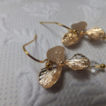 Gold Flowers with Swarovski Raindrops - on nickel free ball end hooks