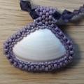Sea Shell Pendant and Beaded Necklace Beach Sand Ocean Summer Purple
