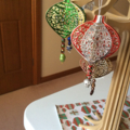 Xmas decorations. With glass beading detail. x 4