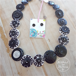 Button Necklace - Black + White Hibiscus flowers - Button Earrings - Whimsy