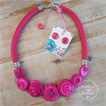 Pretty in Pink - Button Lime Fresh Fusion Necklace - Button Jewellery - Earrings