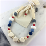 Natural wood and BPA free silicone nursing necklace- indigo blue, white and red