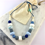Natural wood and BPA free silicone nursing necklace- blue, white and grey