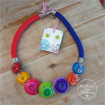 Blue Sky Rainbow - Button Fusion Necklace - Button Jewellery - Earrings