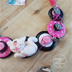 Cat - Pink and Black - Button Necklace - Button Jewellery - Earrings