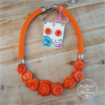 Orange Sunshine - Button Fusion Necklace - Button Jewellery - Earrings