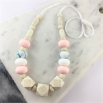 Natural wood and BPA free silicone nursing necklace- white, baby pink and blue