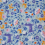 Fitted Cot Sheet - Cotton  - Woodland print in blue, pink, yellow