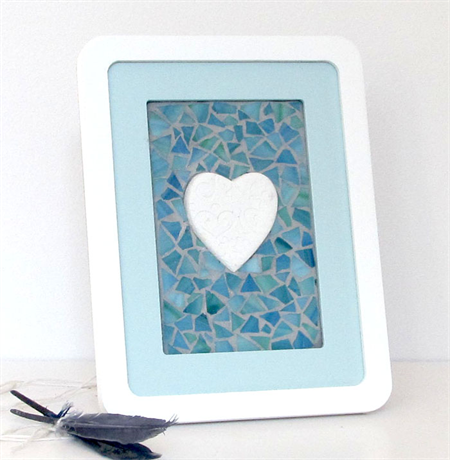 Clay embossed heart in shades of blue mosaic