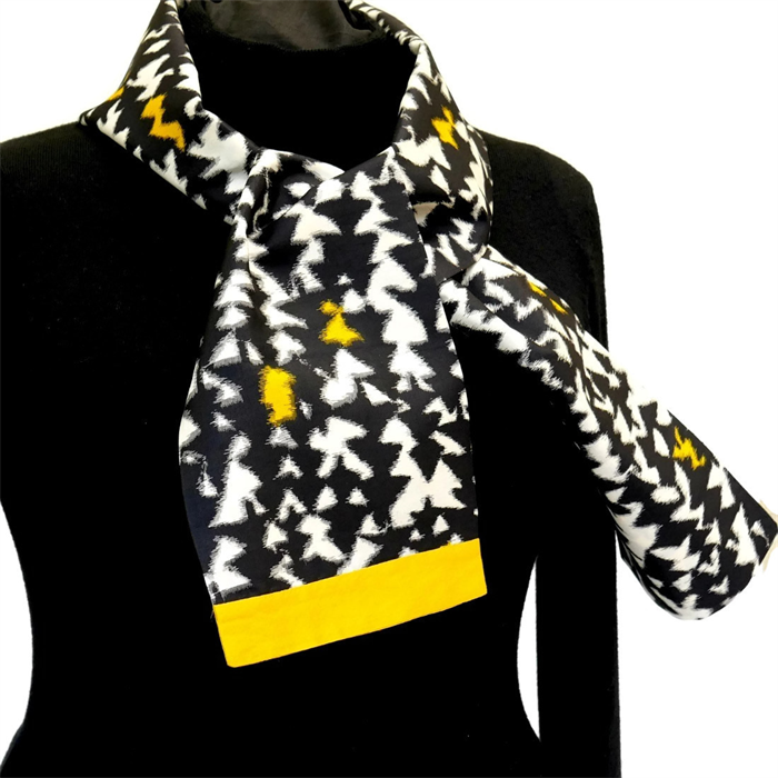 Ikat weave silk scarf in yellow, white and black  Recycled kimono