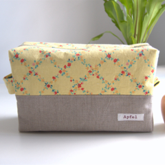 Nappy pouch / Travel pouch / Zippered Pouch- Light yellow flower