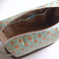 Nappy pouch / Travel pouch / Zippered Pouch- Light turquoise flower