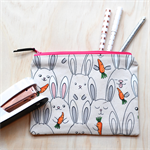 Bunny Rabbits & Carrots Zipped Pouch or Pencil case