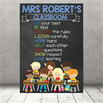 """Class Rules."" Personalised Teacher Classroom Digital Print (PDF)"