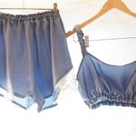 Brigitte ~ Blue Satin Silk Sleep Set ~ Old Parisian Glamour Collection~