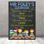 """The more that you read."" Personalised Teacher Classroom Digital Print (PDF)"