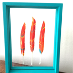 Painted feather wall art - Floating feather art - Tribal art - Boho style art -