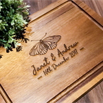Personalized Acacia Chopping / Serving Board Moth/Butterfly Design