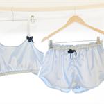 Blue Mist Satin Silk Sleep Set ~ Women's Sleep Set Pyjamas Ladies Sleepwear