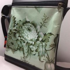 Mini  Messenger Shoulder Bag: Vintage Chintz Floral in Green
