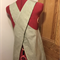 Japanese apron, green stripe, small, size 8/10