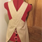 Japanese Wrap Apron, natural tones, vine pattern, small 8 - 10