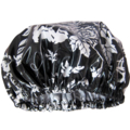 Women's Shower Cap Black Rose Laminated Cotton