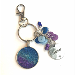 Glitter keychain pendant with 'teacher' charm - ombre pink,blue,purple