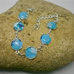 Silver Metal Bracelet with Aqua & Blue Fabric FREE POSTAGE