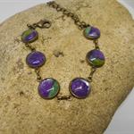 Metal Bracelet with Green & Purple Fabric FREE POSTAGE