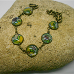 Metal Bracelet with Green & Yellow & Blue Fabric FREE POSTAGE