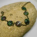 Metal Bracelet with Green & Black Fabric FREE POSTAGE