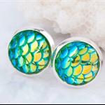 Mermaid Stud Earrings - Turquoise