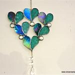 Hearts mobile suncatcher / lightcatcher - iridized teal