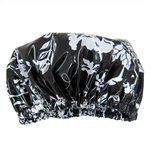 Women's Shower Cap Black Rose Laminated Cotton
