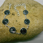 Silver Metal Bracelet with Black & Silver Fabric FREE POSTAGE