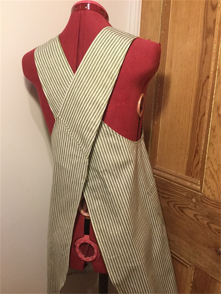 Japanese apron, green stripe, small, size 8/10