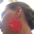 Red doily earrings