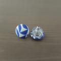 Blue Geo Fabric Button Studs (15mm)