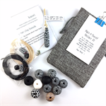 Make it yourself necklace gift kit-handcrafted polymer clay beads- black/white