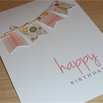 Female Happy Birthday card - vintage bunting