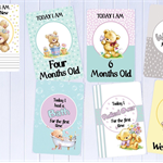 Baby Milestone Cards, Baby Photo Cards - Newborn Photo Props - 34 Cards - Teddy