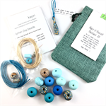 Make it yourself necklace gift kit-handcrafted polymer clay beads- turquoise