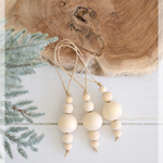 3 x Wood Wooden Bead Christmas Bauble Boho Tree Decoration Home Decor