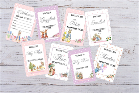 Baby Mileston Cards - Peter Rabbit - Baby shower Gift Photography Prop-28 Cards