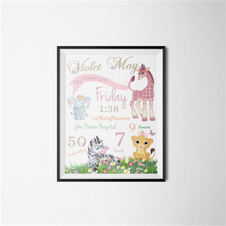 Personalised Baby Nursery Poster -New born announcement poster