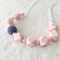 Wooden, crochet and silicone nursing necklace - Pastel pink