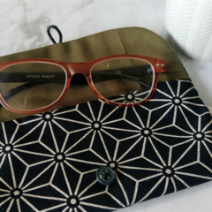 PADDED POUCH - NAVY - HEMP LEAVES / glasses case