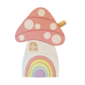Hand painted Wooden PASTEL Toadstool House stacker with Rainbow Door.