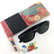 Handcrafted kimono fabric glasses / sunnies case with drawstring- indigo & pink